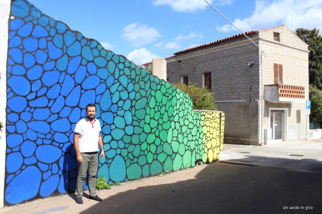 muro blu e verde